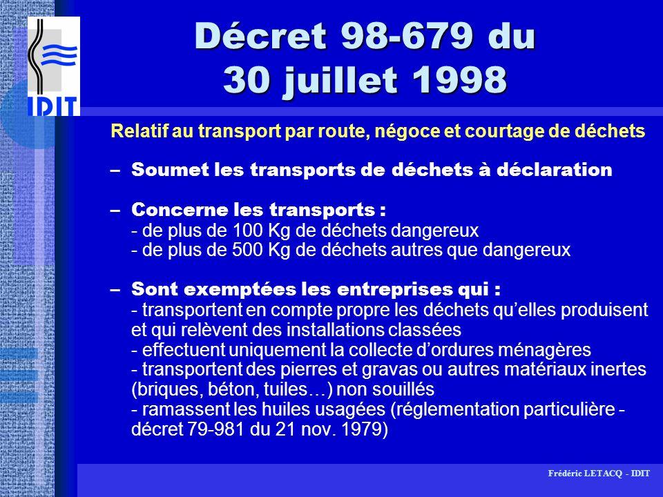 Décret 98-679 du 30 juillet 1998 Relatif au transport par route, négoce et courtage de déchets. Soumet les transports de déchets à déclaration.
