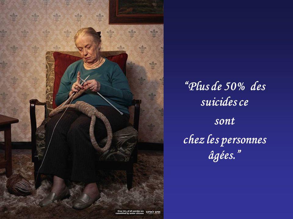Plus de 50% des suicides ce chez les personnes âgées.
