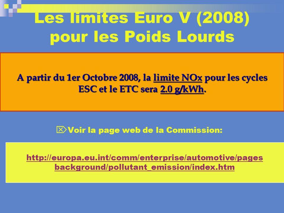 Les limites Euro V (2008) pour les Poids Lourds