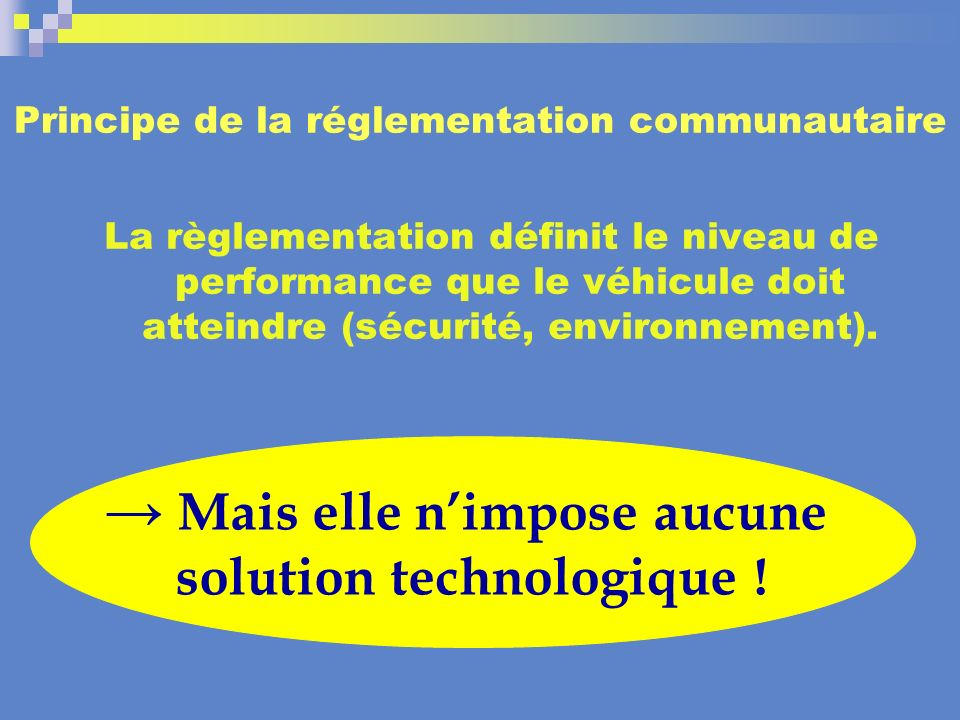 Principe de la réglementation communautaire