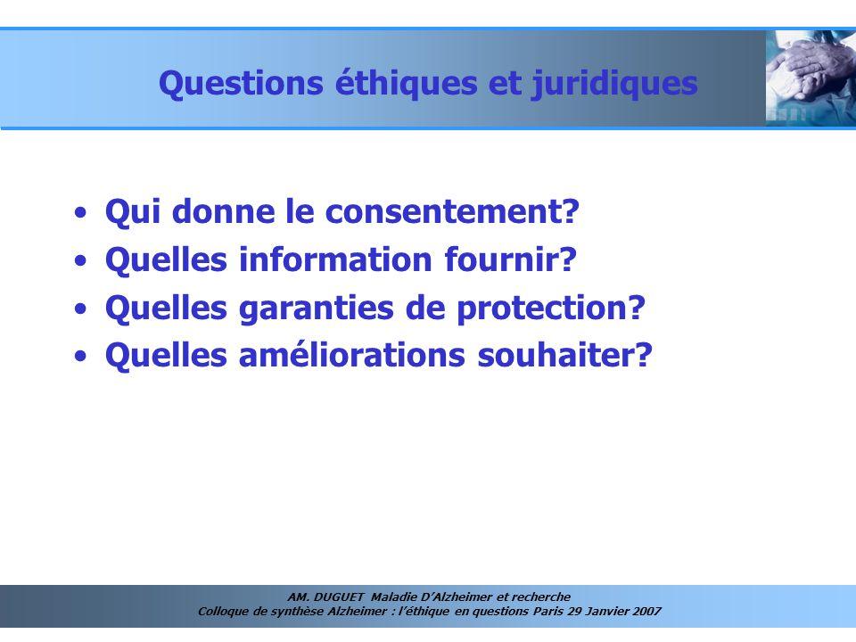 Questions éthiques et juridiques
