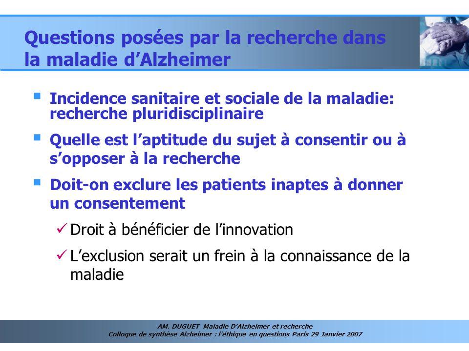 Questions posées par la recherche dans la maladie d'Alzheimer
