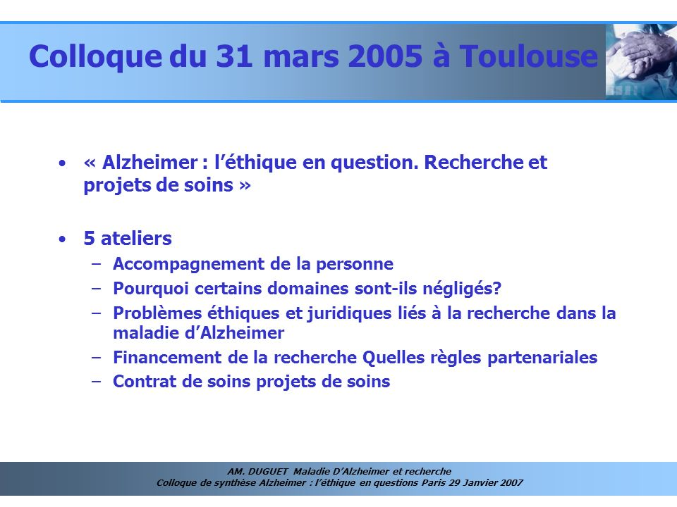 Colloque du 31 mars 2005 à Toulouse