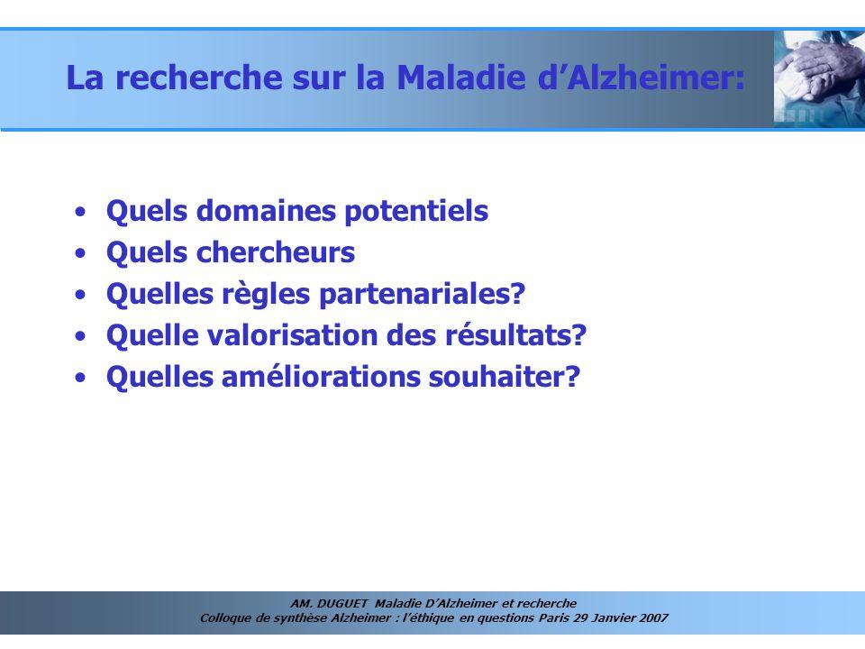 La recherche sur la Maladie d'Alzheimer: