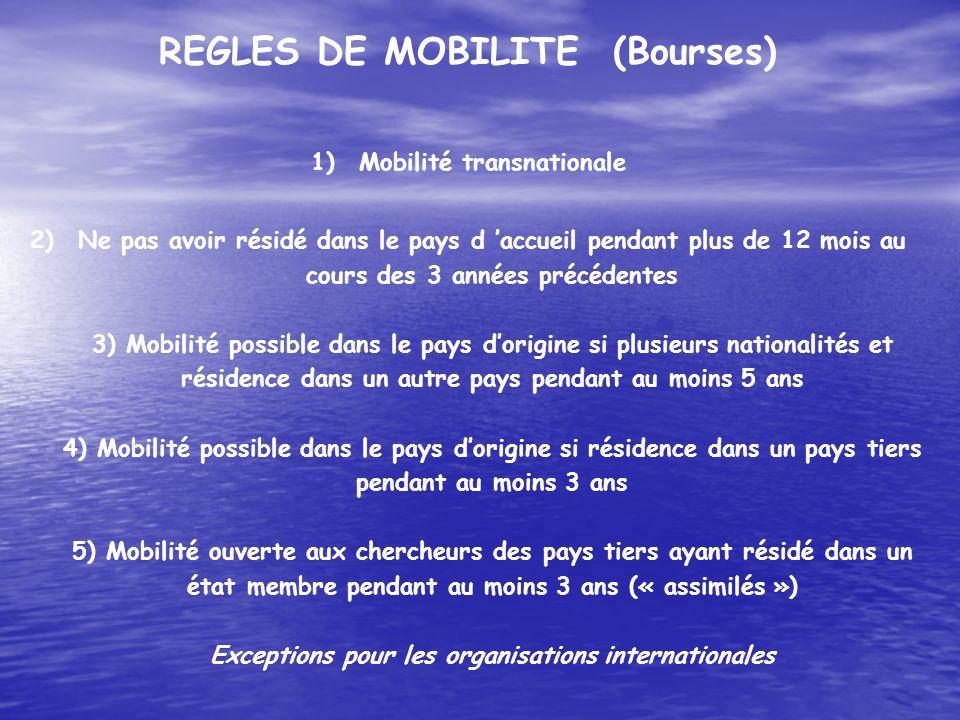 REGLES DE MOBILITE (Bourses) Mobilité transnationale