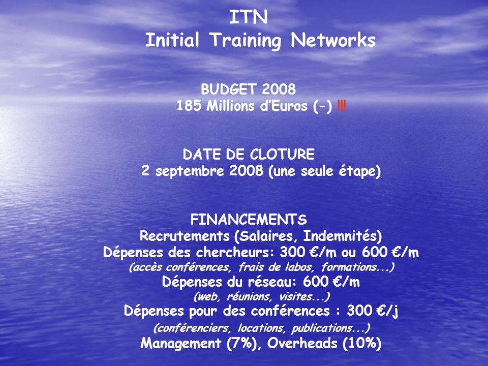 ITN Initial Training Networks