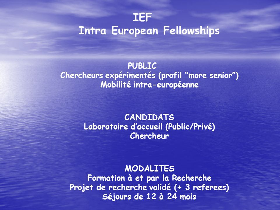 IEF Intra European Fellowships
