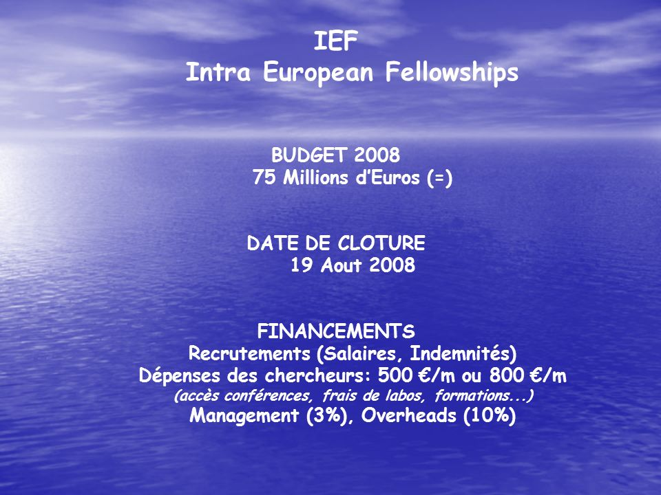 IEF Intra European Fellowships BUDGET 2008 75 Millions d'Euros (=)