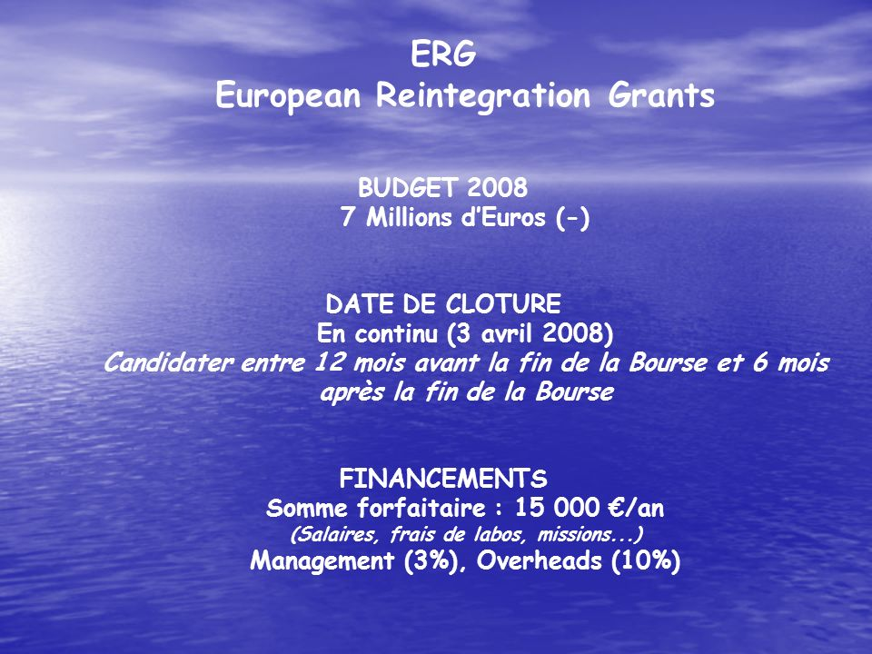 ERG European Reintegration Grants BUDGET Millions d'Euros (-)