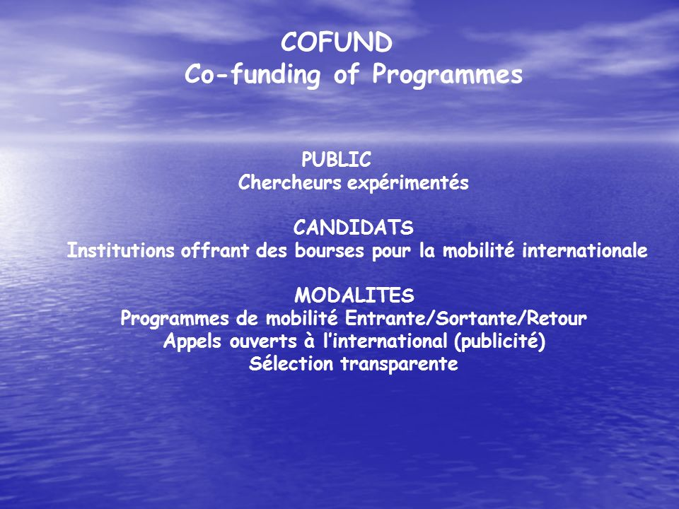 COFUND Co-funding of Programmes