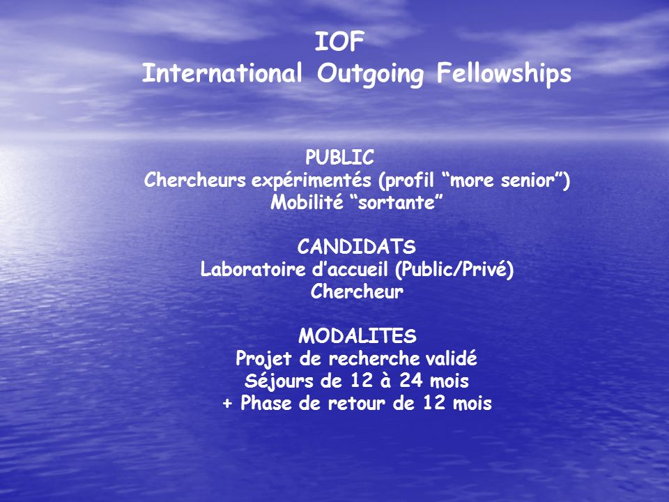 IOF International Outgoing Fellowships