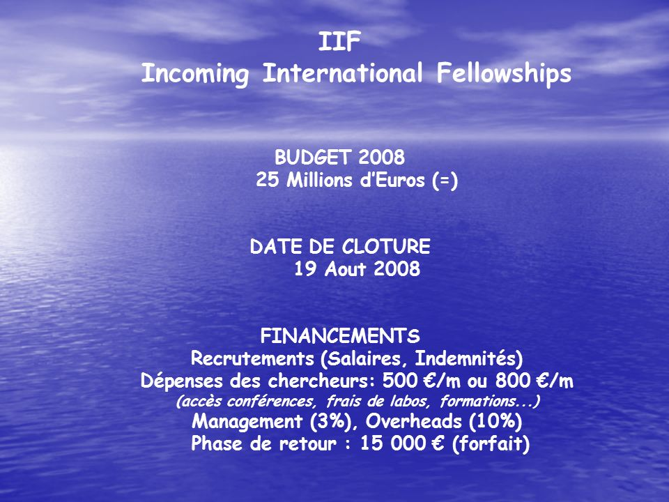 IIF Incoming International Fellowships