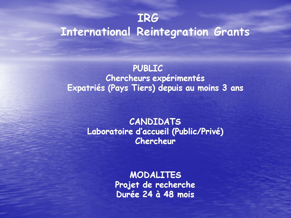 IRG International Reintegration Grants
