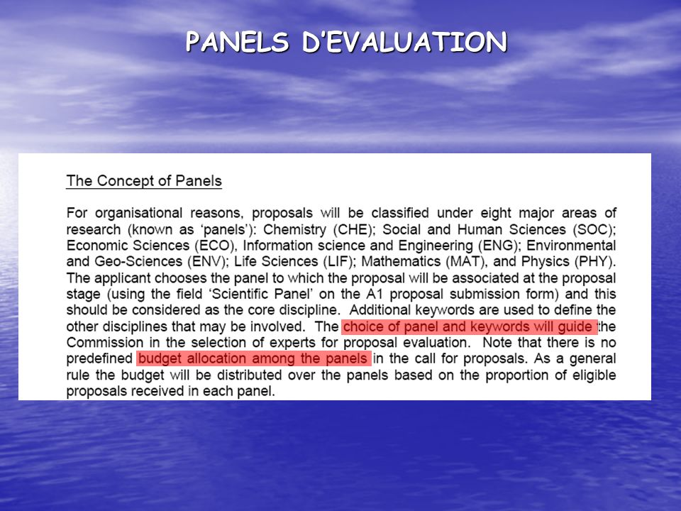 PANELS D'EVALUATION