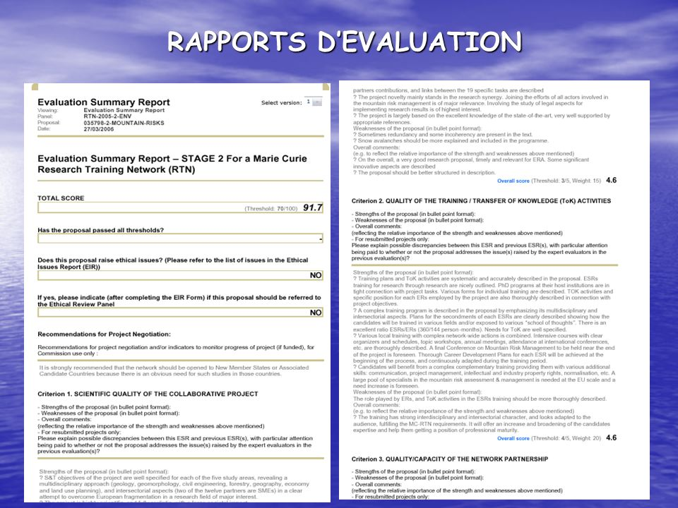 RAPPORTS D'EVALUATION