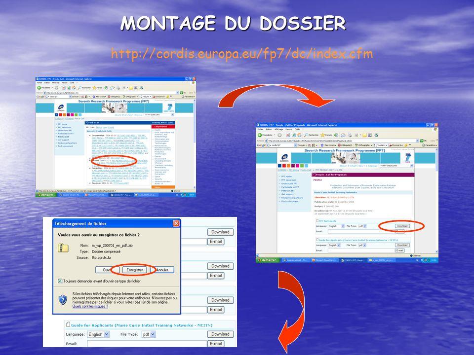 MONTAGE DU DOSSIER http://cordis.europa.eu/fp7/dc/index.cfm