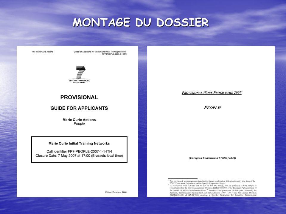 MONTAGE DU DOSSIER