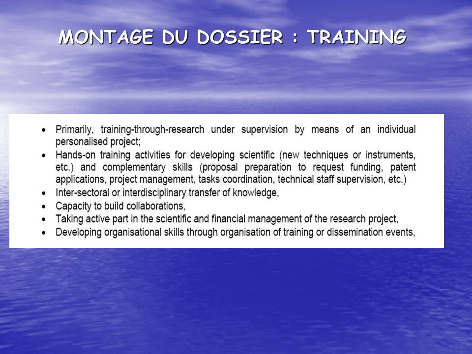 MONTAGE DU DOSSIER : TRAINING