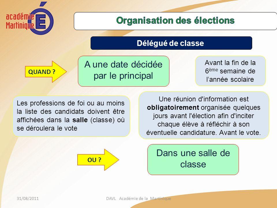 Organisation des élections