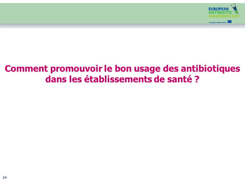 Comment promouvoir le bon usage des antibiotiques dans les établissements de santé