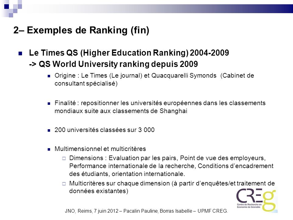2– Exemples de Ranking (fin)