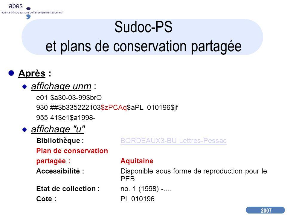 Sudoc-PS et plans de conservation partagée