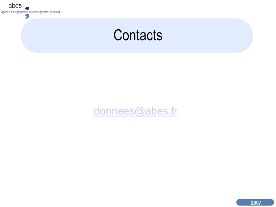 Contacts donnees@abes.fr