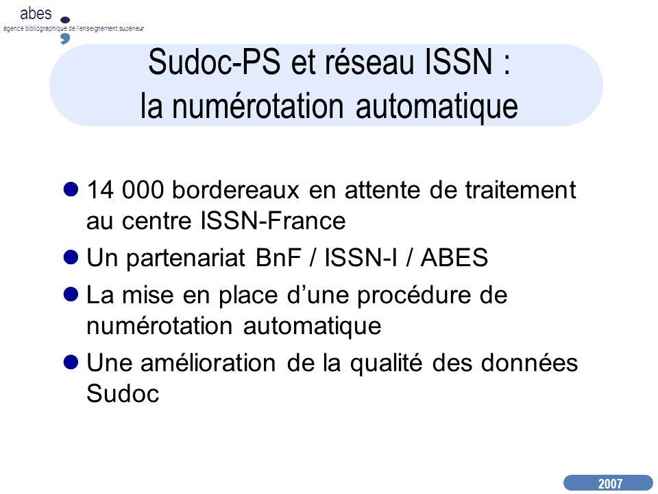 Sudoc-PS et réseau ISSN : la numérotation automatique