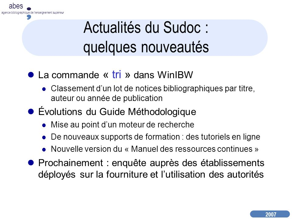 Actualités du Sudoc : quelques nouveautés