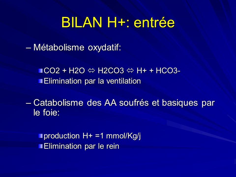 BILAN H+: entrée Métabolisme oxydatif: