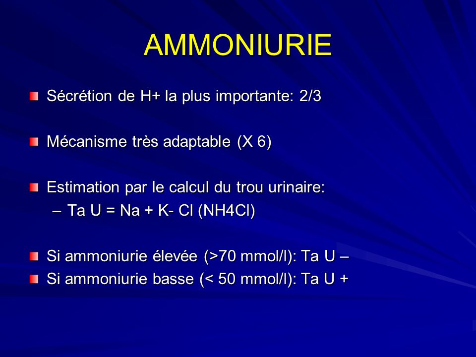 AMMONIURIE Sécrétion de H+ la plus importante: 2/3