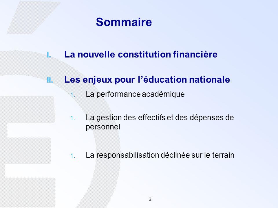 Sommaire La nouvelle constitution financière