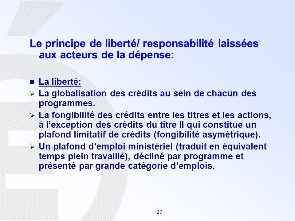 Le principe de liberté/ responsabilité laissées aux acteurs de la dépense: