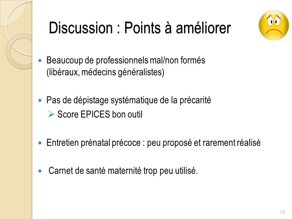 Discussion : Points à améliorer