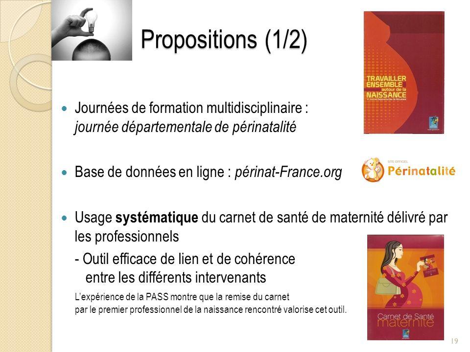 Propositions (1/2) Journées de formation multidisciplinaire : journée départementale de périnatalité.