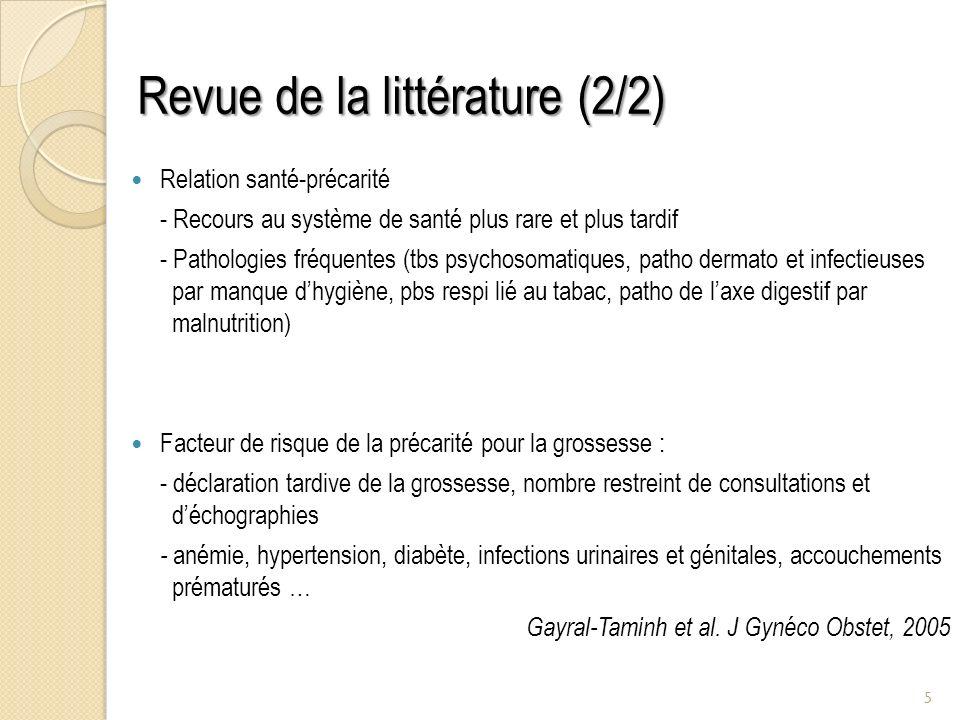 Revue de la littérature (2/2)