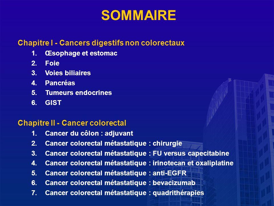 SOMMAIRE Chapitre I - Cancers digestifs non colorectaux