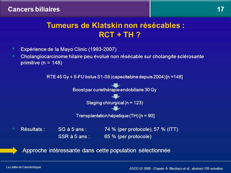 Tumeurs de Klatskin non résécables : RCT + TH