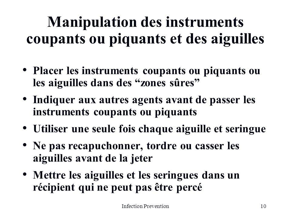 Manipulation des instruments coupants ou piquants et des aiguilles