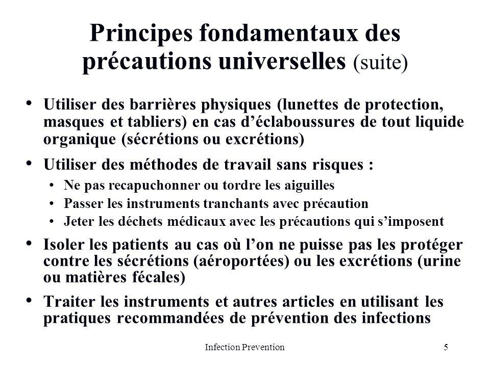 Principes fondamentaux des précautions universelles (suite)