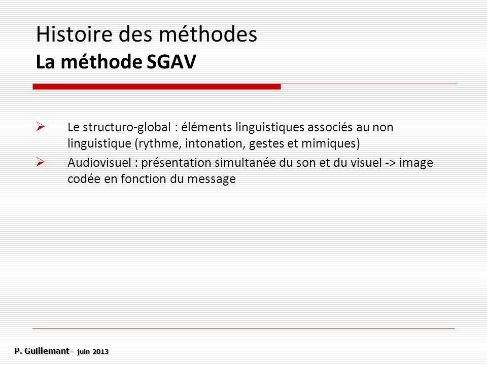 Histoire des méthodes La méthode SGAV