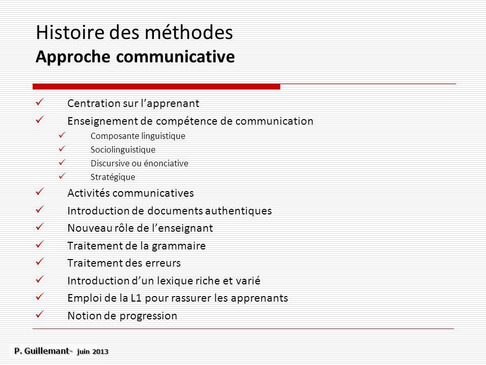 Histoire des méthodes Approche communicative