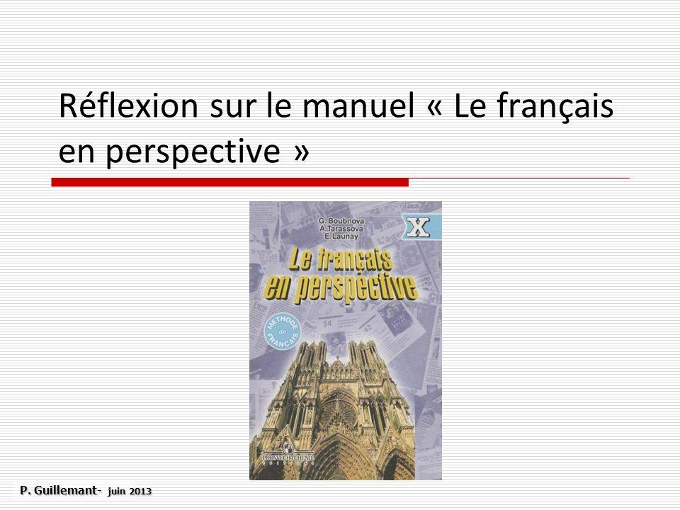 Réflexion sur le manuel « Le français en perspective »