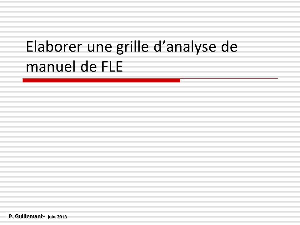 Elaborer une grille d'analyse de manuel de FLE