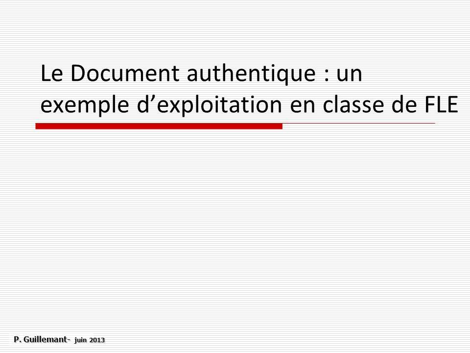 Le Document authentique : un exemple d'exploitation en classe de FLE