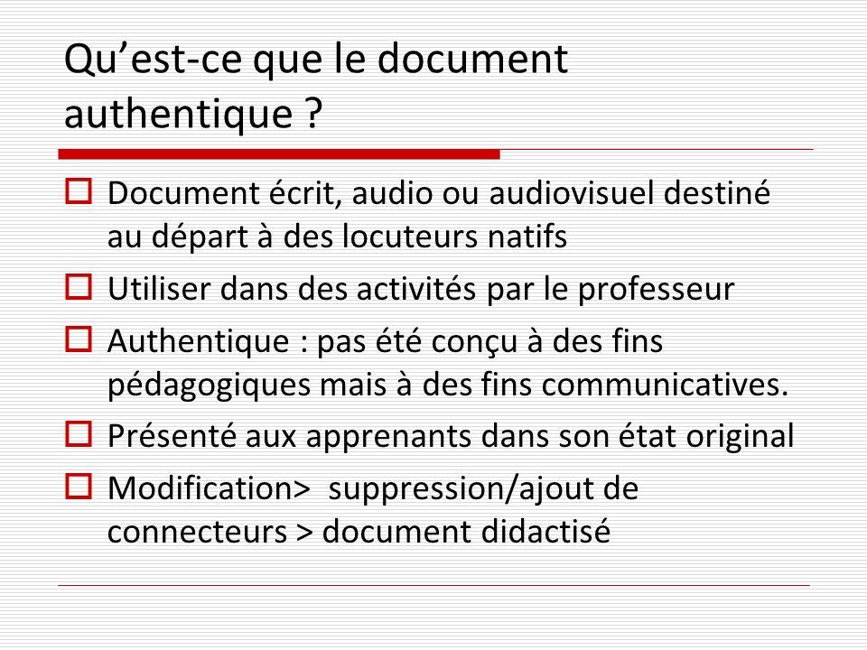 Qu'est-ce que le document authentique