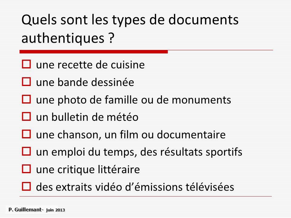 Quels sont les types de documents authentiques