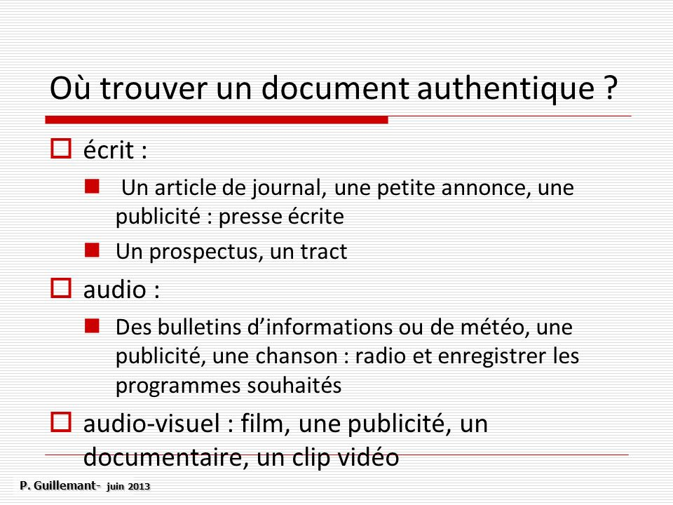 Où trouver un document authentique