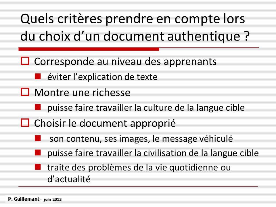 Quels critères prendre en compte lors du choix d'un document authentique