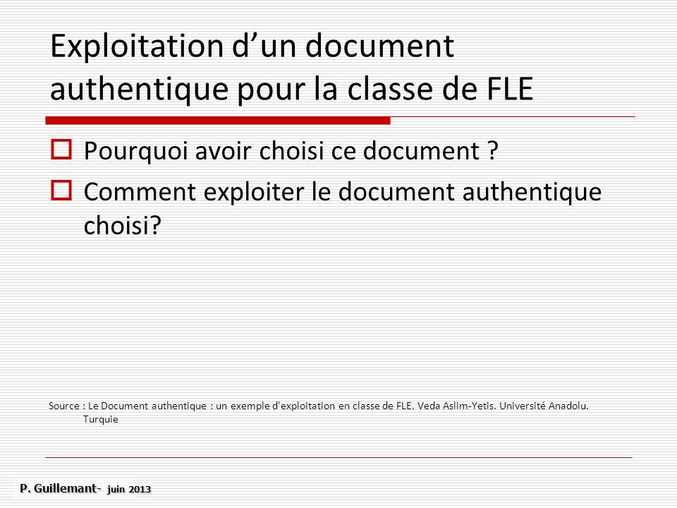 Exploitation d'un document authentique pour la classe de FLE